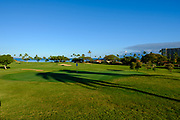 on number six during the champioship round of the boys HHSAA State golf Championship at Ka'anapali Royal Course in Lahaina May 5th, 2017. Photo by Aric Becker