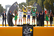Podium, Pierre Latour (FRA - AG2R - La Mondiale) White jersey, Geraint Thomas (GBR - Team Sky) Yellow Jersey, Julian Alaphilippe (FRA - QuickStep - Floors) Polka dots Jersey, Peter Sagan (SVK - Bora - Hansgrohe) Green Jersey during the 105th Tour de France 2018, Stage 21, Houilles - Paris Champs-Elysees (115 km) on July 29th, 2018 - Photo Luca Bettini / BettiniPhoto / ProSportsImages / DPPI