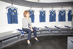 Rt Hon Nicola Sturgeon, First Minister of Scotland and internationalists from Oriam's sporting partners officially open the £33m Heriot-Watt University Edinburgh facility. Pic in the Scotland u16 changing room.