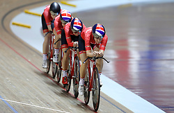 Team Breeze (right-left) Jessica Roberts, Rebecca Raybould, Jenny Holl and Abigail Dentus on their way to winning the Team Pursuit Final, during day two of the HSBC UK National Track Championships at The National Cycling Centre, Manchester.