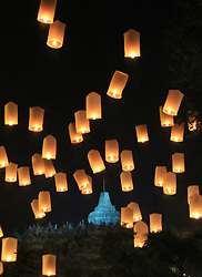 May 11, 2017 - Magelang, Central Java, Indonesia - MAGELANG, INDONESIA - MAY 11: Latterns released by devotees and monks after Vesak Day ceremony at the Borobudur temple on May 10, 2017 in Magelang, Central Java Provine , Indonesia. .Buddha's birthday, known as Vesak Day (or Wesak), is celebrated on various dates in the spring throughout the world, and each Buddhist culture has its own traditions for the day. It is usually observed during the first full moon in May. (Credit Image: © Sijori Images via ZUMA Wire)