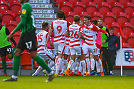 Kieran Sadlier of Doncaster Rovers (22) scores a goal and celebrates to make the score 1-0 during the EFL Sky Bet League 1 match between Doncaster Rovers and Coventry City at the Keepmoat Stadium, Doncaster, England on 4 May 2019.