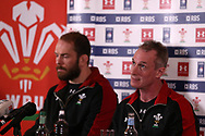 Robert Howley , the Wales team manager ® and Wales captain Alun Wyn Jones (l) speak to the press during the Wales rugby team announcement press conference at the Vale Resort, Hensol near Cardiff, South Wales on Thursday 16th March 2017. The team are preparing for their final RBS Six nations match away to France this weekend. <br /> pic by  Andrew Orchard, Andrew Orchard sports photography.