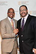 May 7, 2012- New York, NY United States: -(L-R) Dr. Khalil Gibran Muhammad and Dr. Michael Eric Dyson attend the post-reception for the Theater Talks at the Schomburg: A Streetcar Named Desire held at the Schomburg Center for Research in Black Culture, part of the New York Public Library on May 7, 2012 in Harlem Village, New York City. The Schomburg Center for Research in Black Culture, a research unit of The New York Public Library, is generally recognized as one of the leading institutions of its kind in the world. For over 80 years the Center has collected, preserved, and provided access to materials documenting black life, and promoted the study and interpretation of the history and culture of peoples of African descent.  (Photo by Terrence Jennings) .