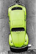 Yellow VW Volkswagen Beetle from Above