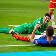 PARIS, FRANCE - September 10:   Goalkeeper Josep Gómes #1 of Andorra reaches after Olivier Giroud #9 of France had rounded him but shot wide from a tight angle during the France V Andorra, UEFA European Championship 2020 Qualifying match at Stade de France on September 10th 2019 in Paris, France (Photo by Tim Clayton/Corbis via Getty Images)