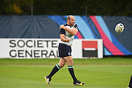 Rory Best of Ireland in action during the Ireland rugby team training at Newport High School in Newport , South Wales on Wed 7th October 2015.the team are preparing for their next RWC match against France this weekend.<br /> pic by  Andrew Orchard, Andrew Orchard sports photography.