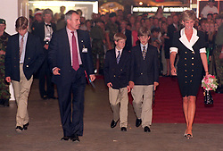 The Royal Party of The Princess of Wales (right) Prince Harry (centre) and Prince William (left) at the Royal Tournament at London's Earls Court today (Thursday). (others in photo are unidentified). Photo by John Stillwell/PA.