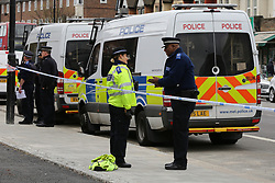 © Licensed to London News Pictures. 31/03/2019. London, UK. Police presence in Edmonton, north London after four stabbings on members of the public in the Edmonton area. According to Met Police, a man was arrested on Fore Street, Edmonton just before 11:00 this morning. Photo credit: Dinendra Haria/LNP