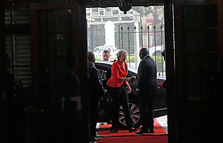 SOUTH AFRICA. Cape Town. 28.08.18. UK Prime Minister Theresa May being greeted by  South African President Cyril Ramaphosa at Tuynhuys for the hand over of the bell of the ill-fated SS Mendi that sunk during the World War 1 in the English Channel in 1917 killing 646 people, mostly black South African troops. Picture : Ian Landsberg/African News Agency (ANA)