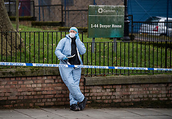 © Licensed to London News Pictures. 16/02/2021. London, UK. Police forensics at the scene of a fatal stabbing at Highgate Road in Camden, North London. Officers attended late yesterday evening alongside London Ambulance Service and found a man suffering from stab wounds. Photo credit: Ben Cawthra/LNP