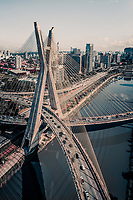 Aerial View Of Pinheiros River And Cable Stay Bridge During Peak Hour In Central Business District Of Sao Paulo, Brazil