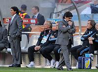 Fotball<br /> VM 2010<br /> Tyskland v Argentina<br /> 03.07.2010<br /> Foto: Witters/Digitalsport<br /> NORWAY ONLY<br /> <br /> Trainer Diego Maradona (Argentinien)<br /> Fussball WM 2010 in Suedafrika, Viertelfinale, Argentinien - Deutschland