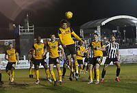 Football - 2020 / 2021 Emirates FA Cup - Round Four: Chorley vs. Wolverhampton Wanderers<br /> <br /> Ki-Jana Hoever of Wolverhampton Wanderers heads clear from a Chorley corner, at Victory Park.<br /> <br /> COLORSPORT/ALAN MARTIN