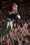 The lead singer from Bleach dives into the crowd during Grace 2001 Saturday night.