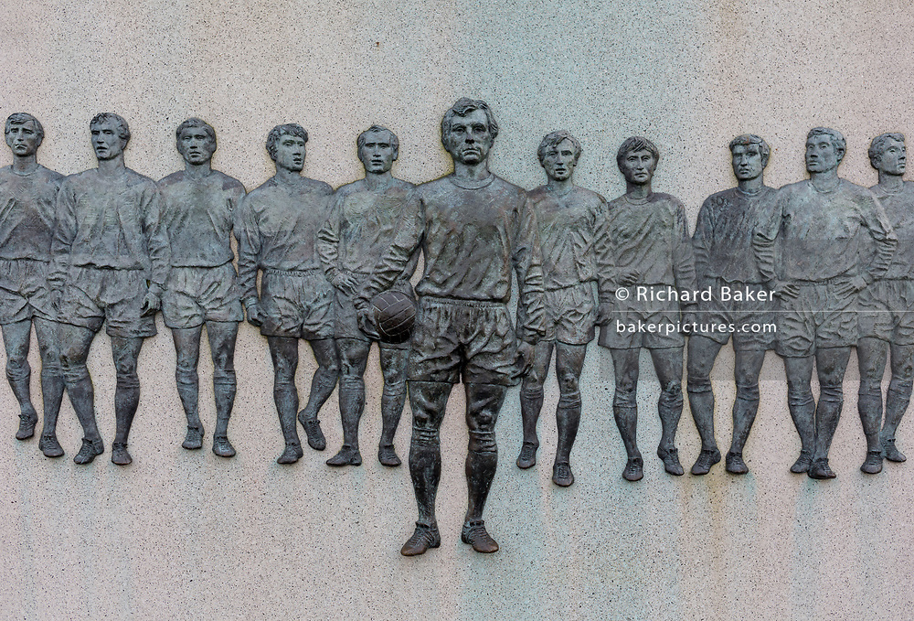 A detail on the statue of English football's most loved player, Bobby Moore, on 6th November 2019, in Wembley, London, England. Sir Bobby Moore captained England to its World Cup victory against Germany at the old Wembley stadium in 1966.