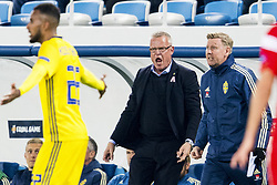 October 12, 2018 - Kaliningrad, Russia - 181012 Head coach Janne Andersson and assistant coach Peter Wettergren of Sweden reacts during the Nations League match between Russia and Sweden on October 12, 2018 in Kaliningrad..Photo: Petter Arvidson / BILDBYRN / kod PA / 92127 (Credit Image: © Petter Arvidson/Bildbyran via ZUMA Press)