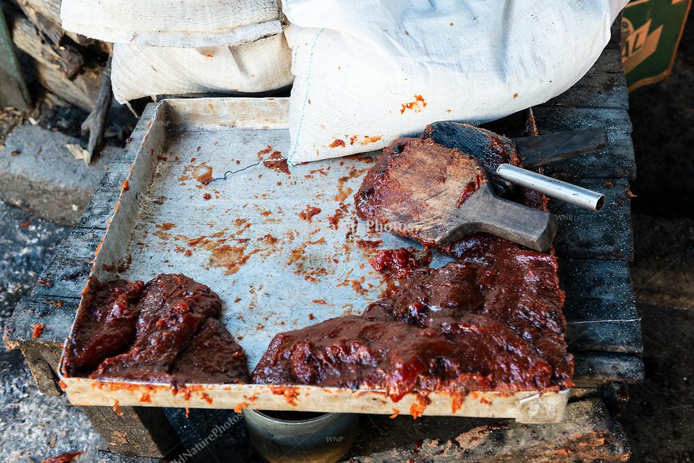 A partially filled tray of Guayaba at La Panchita, the factory that makes Guyaba bars. (Florida, Camagüay Province, Cuba).