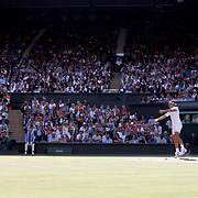 LONDON, ENGLAND - JULY 14: A general view of Center Court at Wimbledon as Roger Federer of Switzerland competes against Thomas Berdych of the Czech Republic in the Gentlemen's Singles Semi-final of the Wimbledon Lawn Tennis Championships at the All England Lawn Tennis and Croquet Club at Wimbledon on July 14, 2017 in London, England. (Photo by Tim Clayton/Corbis via Getty Images)