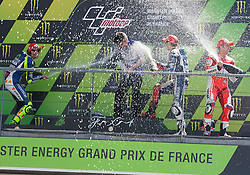 17.05.2015, Circuit, Le Mans, FRA, MotoGP, Grand Prix von Frankreich, im Bild Die Siegerehrung mit einer Sektdusche 99 Jorge Lorenzo / Spanien, 46 Valentino Rossi / Italien, 4 Andrea Dovizioso / Italien // during the MotoGP Monster Energy France Grand Prix at the Circuit in Le Mans, France on 2015/05/17. EXPA Pictures © 2015, PhotoCredit: EXPA/ Eibner-Pressefoto/ Stiefel<br /> <br /> *****ATTENTION - OUT of GER*****