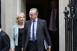 Downing Street, London, June 14th 2016. Small Business Minister Anna Soubry and Justice Secretary Michael Gove leave 10 Downing Street after attending the weekly cabinet meeting.