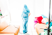 pregnancy photo in the style of a painting