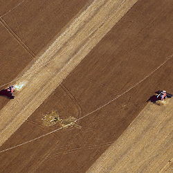 Aerial view of farms
