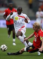 Fotball<br /> Frankrike<br /> Foto: Dppi/Digitalsport<br /> NORWAY ONLY<br /> <br /> FOOTBALL - FRENCH CHAMPIONSHIP 2008/2009 - L1 - AS NANCY LORRAINE v STADE RENNAIS - 21/09/2008 - MARC ANTOINE FORTUNE (NA) / PETTER HANSSON (RE)