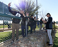 GLENDALE, ARIZONA - FEBRUARY 19: Michael Kopech #34 of the Chicago White Sox signs autographs during spring training workouts on February 19, 2019 at Camelback Ranch in Glendale Arizona.  (Photo by Ron Vesely). Subject:   Michael Kopech