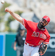 Starting pitcher Matt Shoemaker throws during the Angels' preseason game against the Chicago Cubs at Angel Stadium Sunday.<br /> <br /> <br /> ///ADDITIONAL INFO:   <br /> <br /> angels.0404.kjs  ---  Photo by KEVIN SULLIVAN / Orange County Register  --  4/3/16<br /> <br /> The Los Angeles Angels take on the Chicago Cubs at Angel Stadium during a preseason game at Angel Stadium Sunday.<br /> <br /> <br />  4/3/16