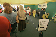 Visitors queuing for event tickets on the first day of the Edinburgh International Book Festival. The Book Festival was the World's largest literary event and featured writers from around the world. The 2006 event featured around 550 writers and ran from 13-28 August.