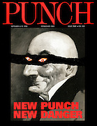 Punch. (A parody of the New Labour, New Danger advertising campaign featuring Mr Punch. Front cover, 6 September 1996. Relaunch cover)