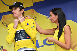 July 27, 2018 - Laruns, FRANCE - British Geraint Thomas of Team Sky celebrates on the podium in the yellow jersey of leader in the overall ranking after the 19th stage of the 105th edition of the Tour de France cycling race, 200,5km from Lourdes to Laruns, France, Friday 27 July 2018. This year's Tour de France takes place from July 7th to July 29th. BELGA PHOTO DAVID STOCKMAN (Credit Image: © David Stockman/Belga via ZUMA Press)