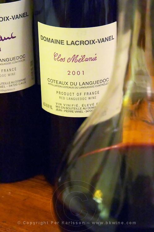 Cuvee Clos Melanie. Domaine Lacroix-Vanel. Caux. Pezenas region. Languedoc. France. Europe. Bottle.
