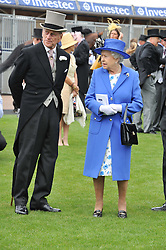 HM THE QUEEN and THE DUKE OF EDINBURGH at the 2012 Investec sponsored Derby at Epsom Racecourse, Epsom, Surrey on 2nd June 2012.