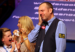 Mark Williams reacts after winning the 2018 Betfred World Championship at The Crucible, Sheffield.