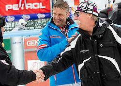 Vedran Pavlek of Croatia and Ferdinand  Hirscher, father of HIRSCHER Marcel of Austria  after the 10th Men's Slalom - Pokal Vitranc 2013 of FIS Alpine Ski World Cup 2012/2013, on March 10, 2013 in Vitranc, Kranjska Gora, Slovenia. (Photo By Vid Ponikvar / Sportida.com)