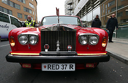 General view of a car with Arsenal memorabilia before the Premier League match at the Emirates Stadium, London.