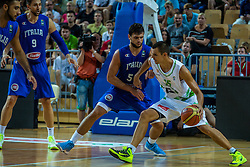 Jure Balazic of Slovenia vs Alessandro Gentile of Italy during friendly basketball match between National teams of Slovenia and Italy at day 3 of Adecco Cup 2015, on August 23 in Koper, Slovenia. Photo by Grega Valancic / Sportida