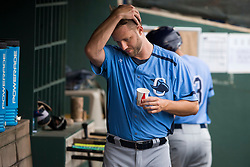 June 5, 2017 - St. Petersburg, Florida, U.S. - WILL VRAGOVIC       Times.Charlotte Stone Crabs pitcher Brad Boxberger (11) in the dugout after throwing the first inning of the game between the Charlotte Stone Crabs and the Clearwater Threshers at Spectrum Field in Clearwater, Fla. on Monday, June 6, 2017. (Credit Image: © Will Vragovic/Tampa Bay Times via ZUMA Wire)