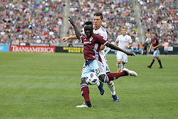 April 29, 2018 - Commerce City, Colorado - Colorado Rapids midfielder Bismark Adjei-Boateng (21) launches a shot attempt in the second half of action in the MLS soccer game between Orlando City SC and the Colorado Rapids at Dick's Sporting Goods Park in Commerce City, Colorado (Credit Image: © Carl Auer via ZUMA Wire)
