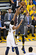 Golden State Warriors forward Kevin Durant (35) shoots a three pointer against the New Orleans Pelicans at Oracle Arena during Game 2 of the Western Semifinals in Oakland, California, on May 1, 2018. (Stan Olszewski/Special to S.F. Examiner)