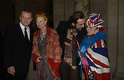 """Jean-Charles de  de Castelbajac , Vivienne Westwood, Andreas Kronthaler and Anna Piaggi. The private views for Anna Piaggi's exhibition """"Fashion-ology"""" and also 'Popaganda: the life and style of JC de Castelbajacat' the Victoria & Albert Museum on January 31  2006. © Copyright Photograph by Dafydd Jones 66 Stockwell Park Rd. London SW9 0DA Tel 020 7733 0108 www.dafjones.com"""