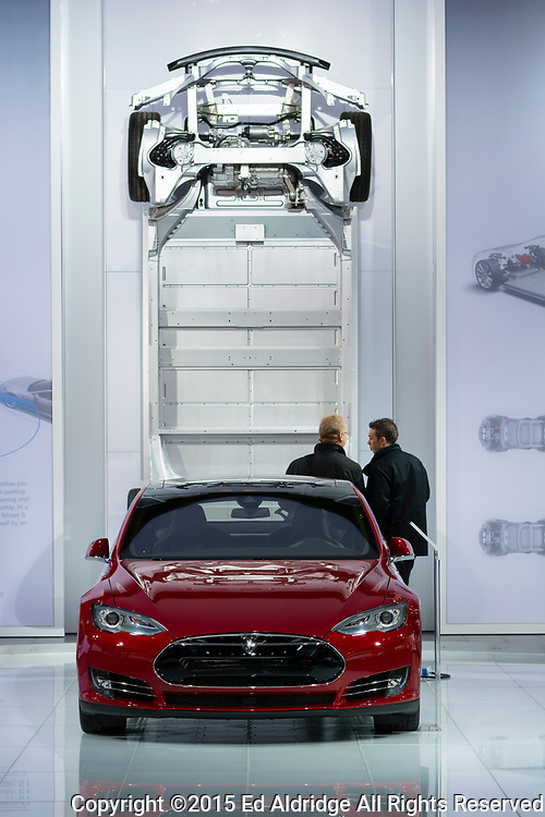 DETROIT, MI, USA - JANUARY 13, 2015: Tesla Model S on display during the 2015 Detroit International Auto Show at the COBO Center in downtown Detroit.