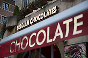 Belgian chocolate shop in Brussels, Belgium. The Brussels-Capital Region is a region of Belgium comprising 19 municipalities, including the City of Brussels.