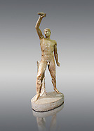 2nd century AD Roman marble sculpture of Aristogeiton  from the Tyrannicide group,  a Roman copy of an early classical period Geek original, inv 6307, Naples Museum of Archaeology, Italy .<br /> <br /> If you prefer to buy from our ALAMY STOCK LIBRARY page at https://www.alamy.com/portfolio/paul-williams-funkystock/greco-roman-sculptures.html . Type -    Naples    - into LOWER SEARCH WITHIN GALLERY box - Refine search by adding a subject, place, background colour, etc.<br /> <br /> Visit our ROMAN WORLD PHOTO COLLECTIONS for more photos to download or buy as wall art prints https://funkystock.photoshelter.com/gallery-collection/The-Romans-Art-Artefacts-Antiquities-Historic-Sites-Pictures-Images/C0000r2uLJJo9_s0
