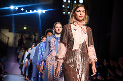 Model Arizona Muse on the catwalk during the Temperley Autumn/Winter 2017 London Fashion Week show at Banking Hall, London.