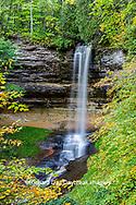 64745-00219 Munising Falls in fall, Pictured Rocks National Lakeshore Alger Co. MI