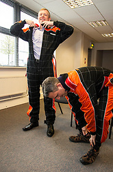 Pictured: Willie Rennie and Alex Cole-Hamilton<br /> <br /> Scottish Liberal Democrat leader Willie Rennie put the foot down as he took to the track at Xtreme Karting at Newbridge today accompanied by Edinburgh Western candidate Alex Cole-Hamilton and Perthshire North candidate Peter Barrett. The Lib Dems have not constituency MSP in the area in the past and hope to raise their profile ahead of the election on Thursday.<br /> <br /> Ger Harley | EEm 2 May 2016