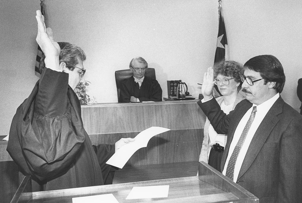 ©1996  Judge Wilfred Aguilar is sworn into office, Hispanic district judge  Austin, Texas